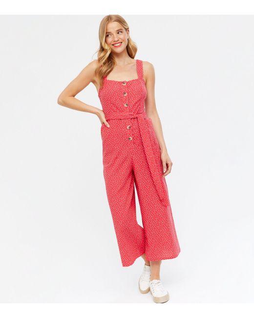 New Look Red Spot Linen Look Belted Wide Leg Crop Jumpsuit