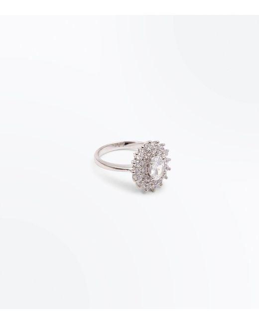 New Look | Metallic Silver Cubic Zirconia Ring | Lyst