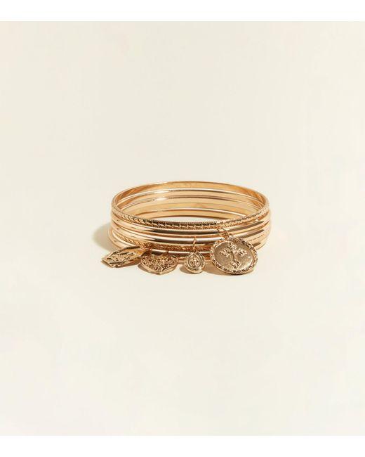 New Look - Metallic 5 Pack Gold Cross Charm Bangles - Lyst