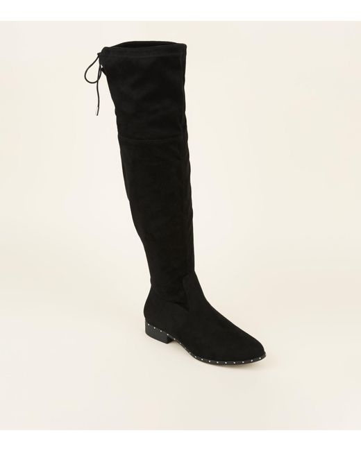 4916d1404973 New Look Wide Fit Black Stud Trim Over The Knee Boots in Black - Lyst