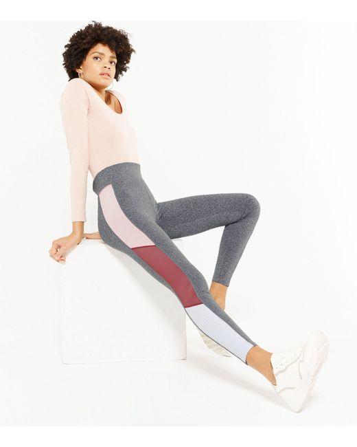 New Look Gray Light Grey Colour Block Sports Leggings