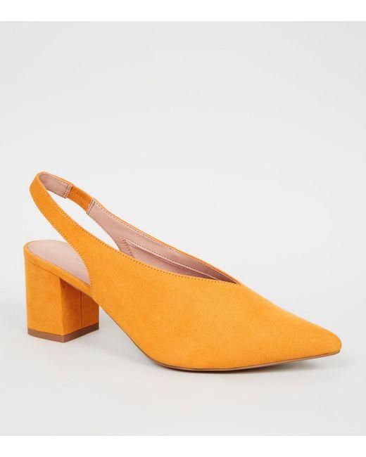 ec2dde9981d2 New Look Mustard Comfort Flex Suedette Slingback Heels in Orange - Lyst