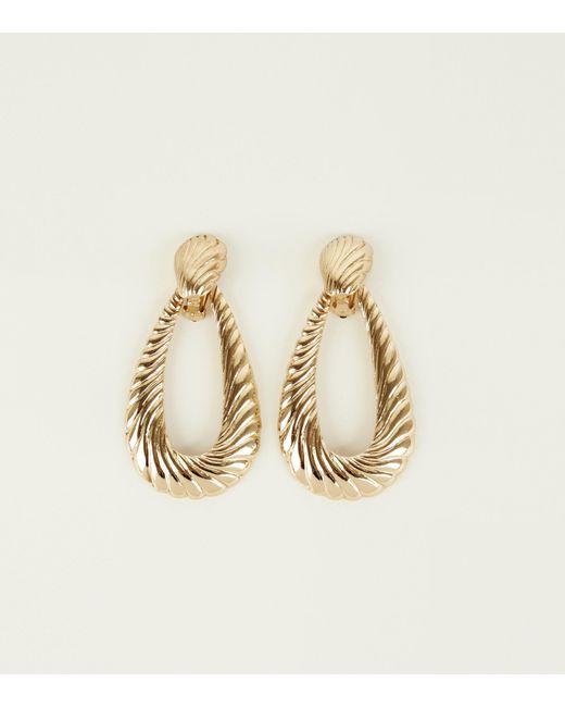 New Look Metallic Gold Embossed Swirl Teardrop Earrings Lyst