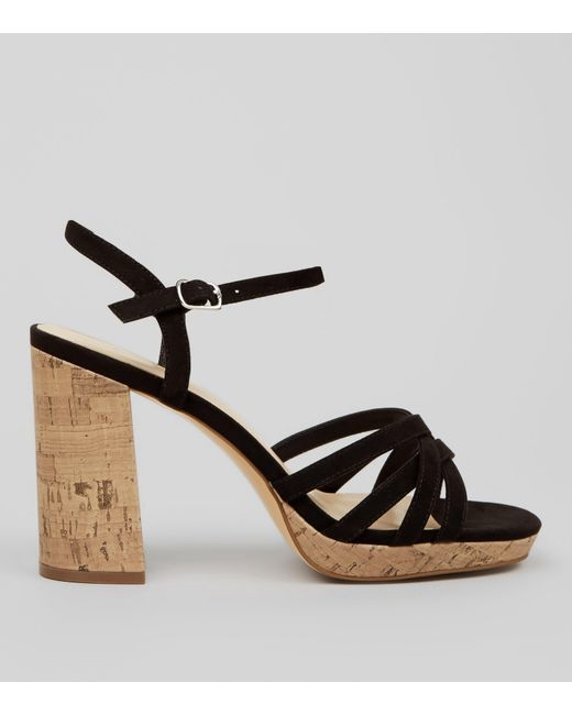 2ab7fcfbb2 New Look Wide Fit Black Suedette Cork Strappy Sandals in Black - Lyst