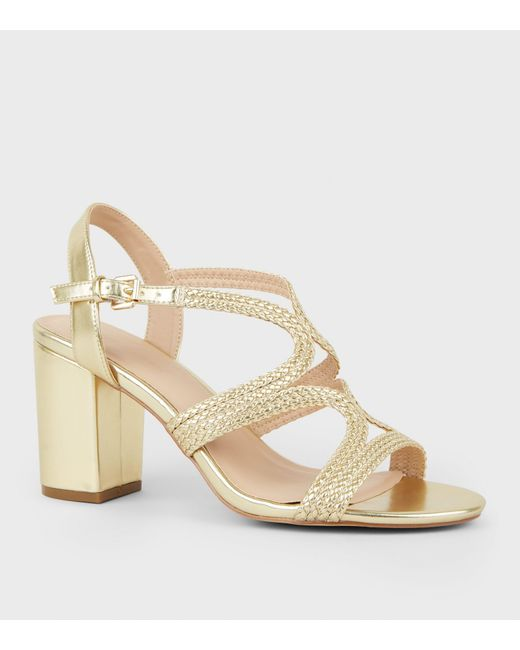 Metallic Woven Strappy Women's Heeled Gold Sandals E9IWH2YD