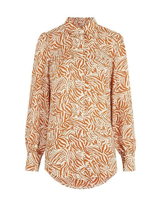 New Look Brown Zebra Print Long Shirt