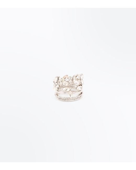 New Look | Metallic Crystal Leaf Stacked Ring | Lyst