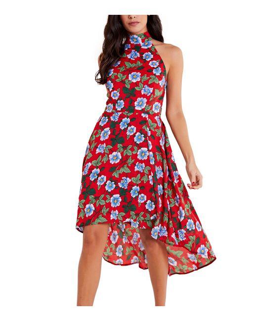 Mela Red Floral High Neck Dip Hem Dress