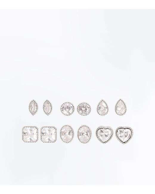 New Look | Multicolor 6 Pack Cubic Zirconia Mixed Shape Stud Earrings | Lyst