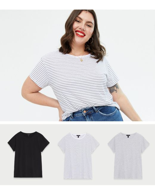 New Look Curves White Stripe Black And Grey Oversized T-shirts