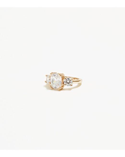 New Look - Metallic Gold Cubic Zirconia Three Gem Sparkle Ring - Lyst