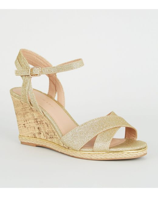 buy 100% genuine great prices Women's Metallic Wide Fit Gold Glitter Espadrille Cork Wedges