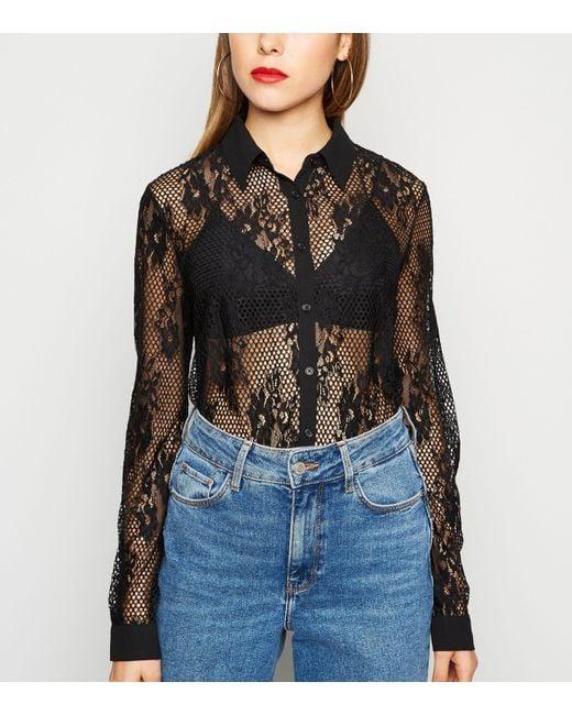 New Look Black Fishnet Lace Shirt