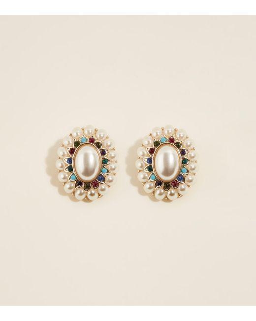 New Look - Metallic Multi Coloured Stone Faux Pearl Clip-on Earrings - Lyst