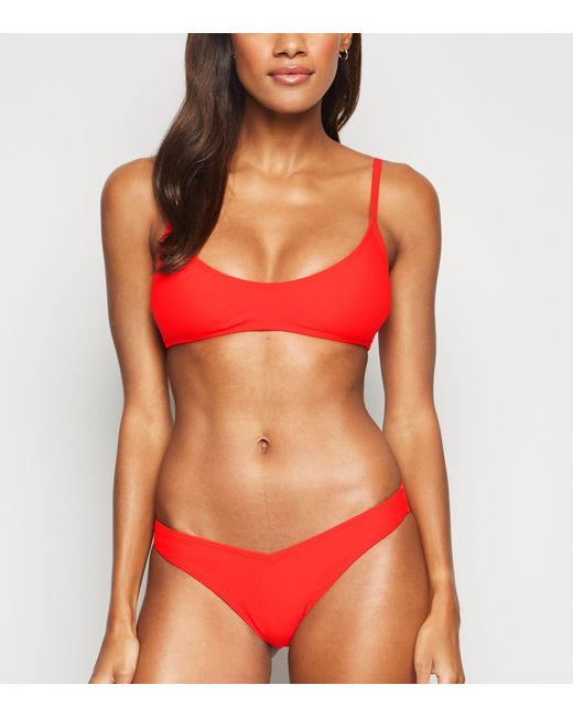 New Look Red Crop Bikini Top
