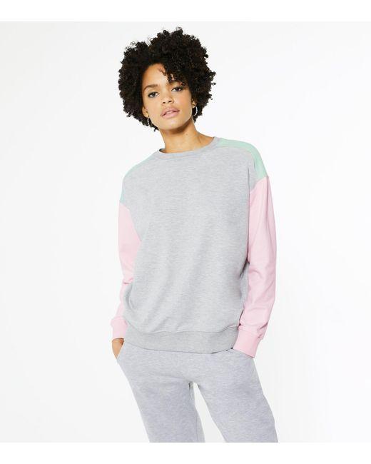 New Look Gray Light Grey Colour Block Sweatshirt