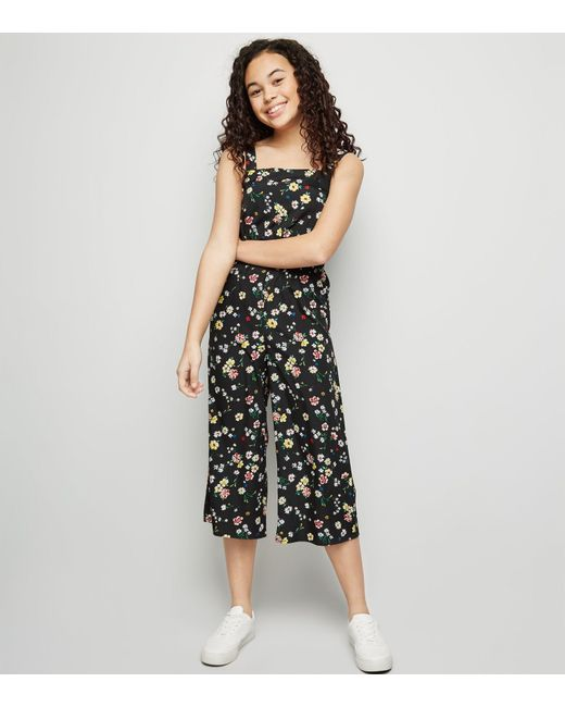 607352728b3 New Look Girls Multicoloured Floral Square Neck Jumpsuit in Black - Lyst
