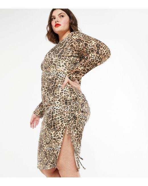 New Look Curves Brown Leopard Print Long Sleeve Dress