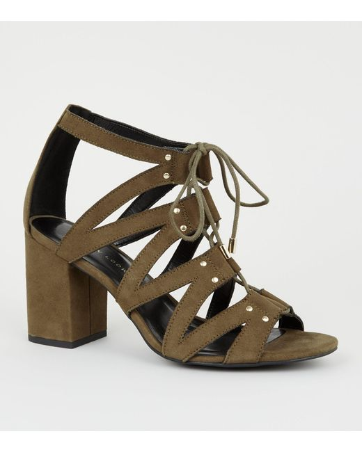 New Look Multicolor Wide Fit Khaki Lace Up Ghillie Block Heels