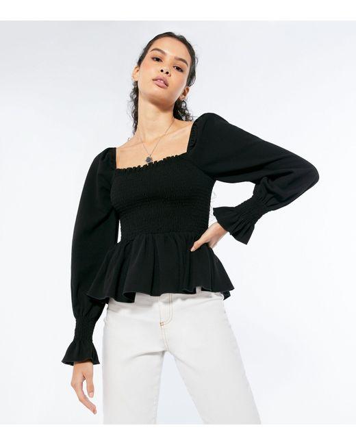 New Look Black Long Sleeve Shirred Peplum Top