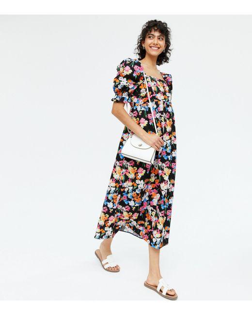 New Look Black Floral Poplin Square Neck Midi Dress