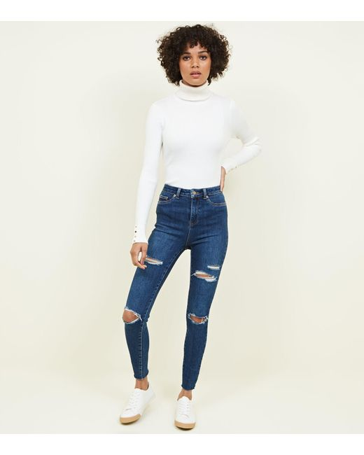 3ce7c18671d95 New Look Blue Ripped High Waist Super Skinny Hallie Jeans in Blue - Lyst