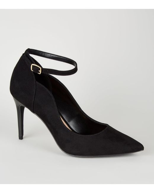 e8b6614ca5f Women's Black Suedette Pointed Ankle Strap Courts