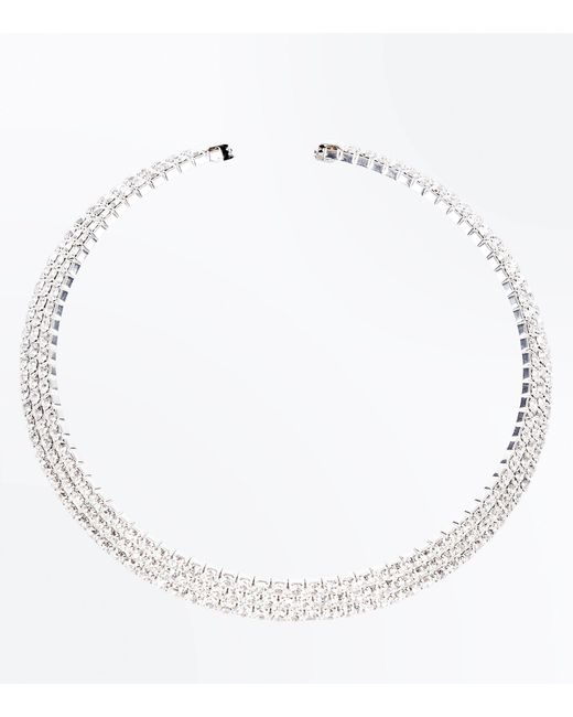 New Look | Metallic Silver Diamante Embellished Torque Necklace | Lyst