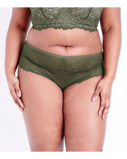 New Look - Green Curves Khaki Lace Brazilian Briefs - Lyst