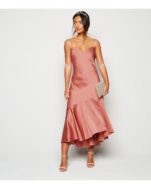 New Look Petite Pale Pink Satin Frill Hem Midi Dress