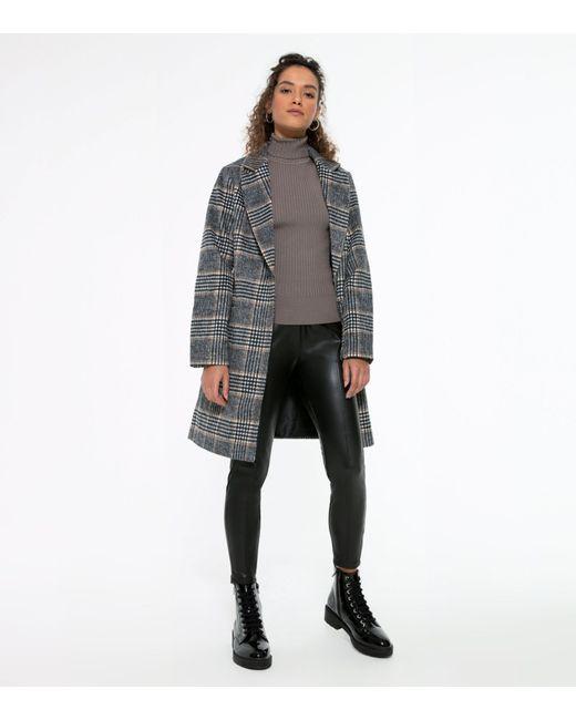 New Look Gray Petite Light Grey Check Coat