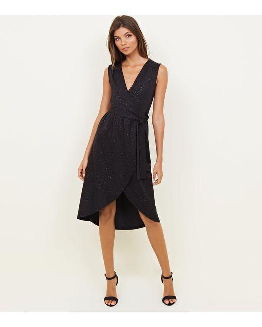 480ffe97895c Mela Black Glitter V Neck Midi Dress in Black - Lyst