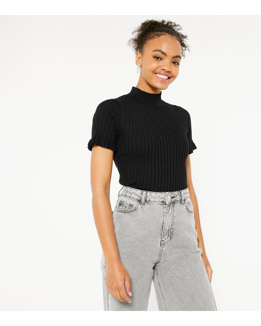 New Look Black Ribbed Knit High Neck Top