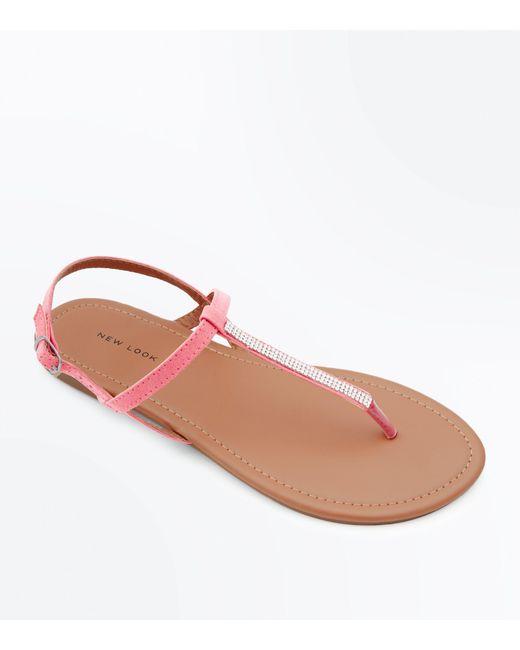 New Look - Bright Pink Diamante Strap Flat Sandals - Lyst