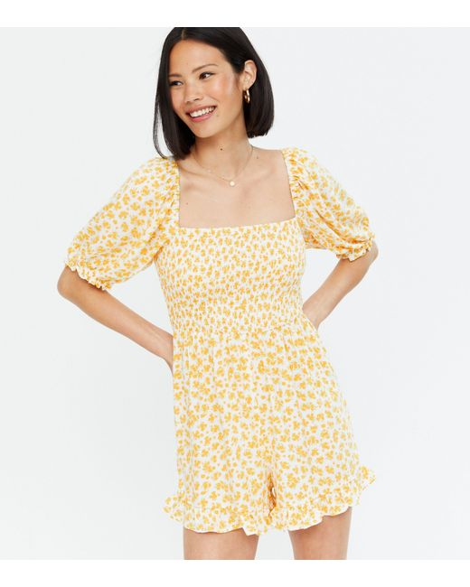 New Look Yellow Floral Square Neck Shirred Frill Playsuit