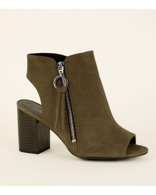 462ca67ac397 New Look Wide Fit Khaki Ring Pull Zip Peep Toe Heels in Green - Lyst