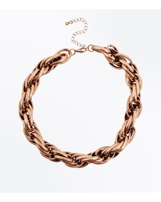 New Look | Metallic Gold Chunky Twisted Rope Necklace | Lyst