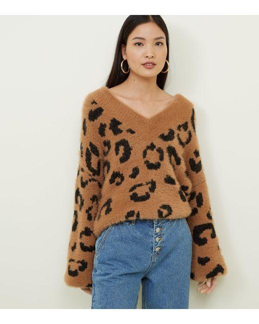 d8b436df3ddfe0 New Look Brown Leopard Print Fluffy Knit Jumper in Brown - Lyst