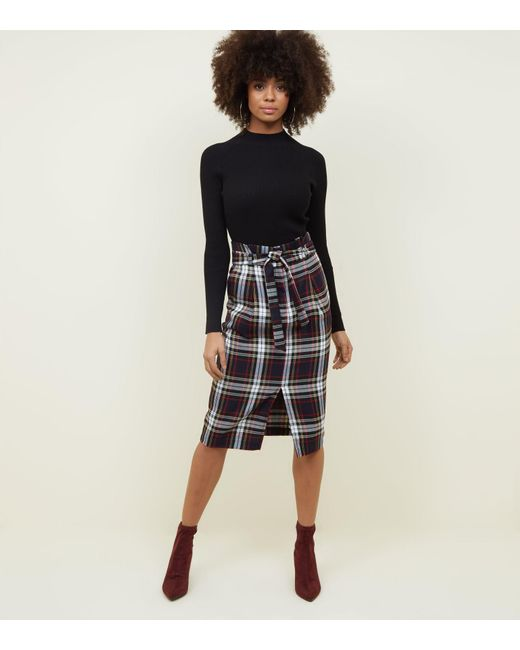 9c4ef81662 New Look Navy Check Paperbag Midi Skirt in Blue - Lyst