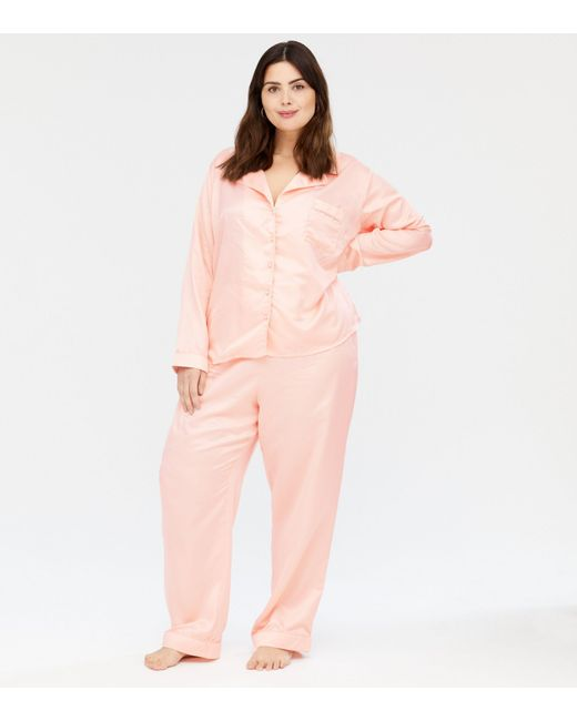 New Look Curves Pink Satin Revere Shirt And Trouser Pyjama Set