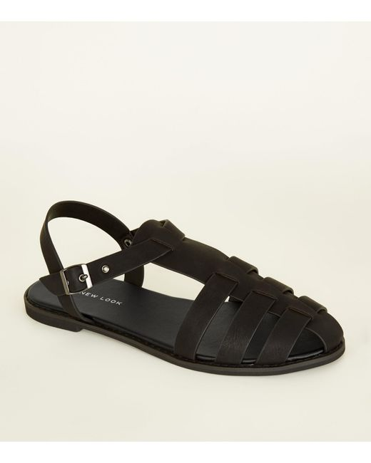 05b2fd4c4 New Look Black Leather-look Caged Flat Sandals in Black - Lyst