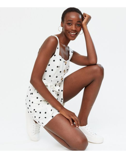 New Look Tall White Spot Belted Playsuit