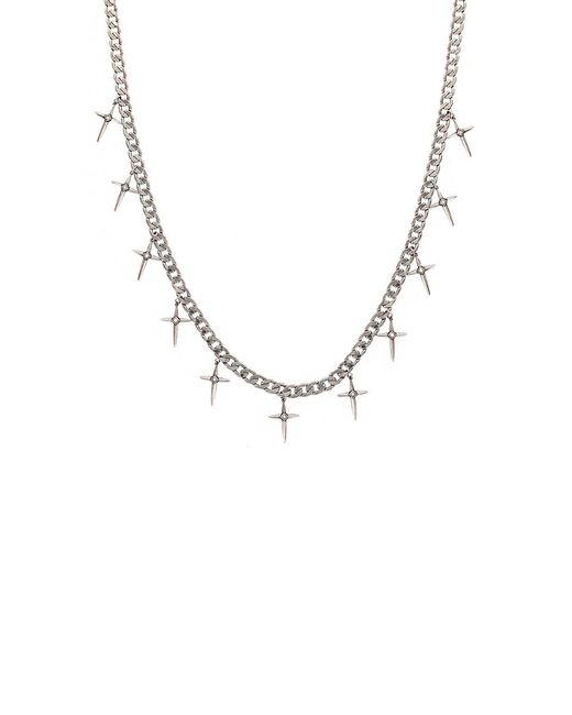 Nicole Miller - Metallic Spike Cross Fringe Necklace - Lyst