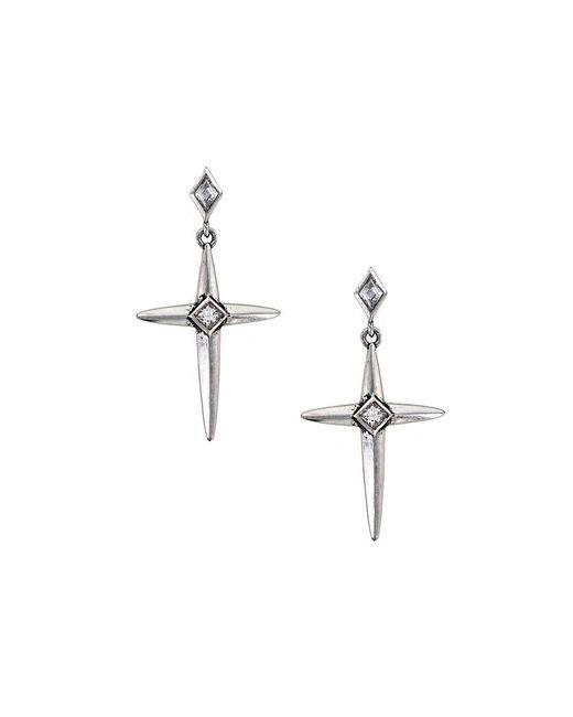 Nicole Miller   Metallic Spike Cross Earrings   Lyst
