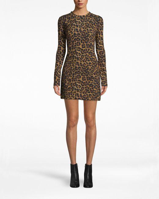 Nicole Miller Multicolor Furry Leopard Jersey Long Sleeve Shirt Dress