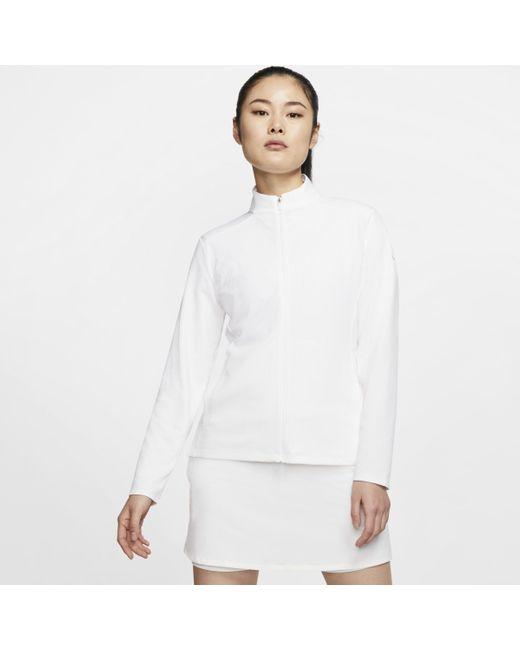 Nike White Dri-FIT UV Victory -Golf Jacke mit durchgehendem Reißverschluss