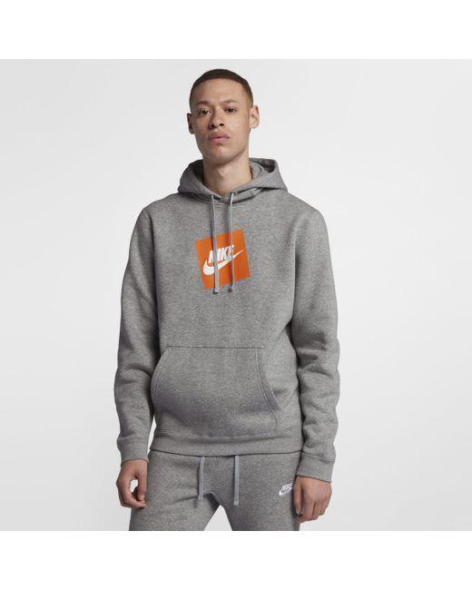 8b70f45163c1 Nike Sportswear Men s Fleece Pullover Hoodie in Gray for Men - Lyst