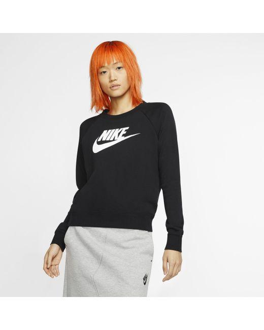 Nike Black Sportswear Essential Fleece-Rundhalsshirt für