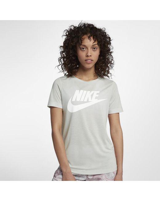 6f258152885 Lyst - Nike Sportswear Essential Women s Logo Short Sleeve Top in Gray