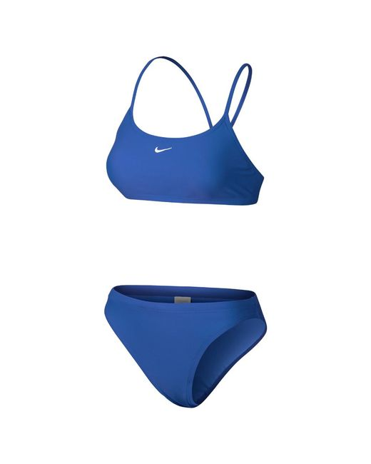 361369c2993b5 Lyst - Nike Nylon Core Solid Women s Two-piece Swimsuit in Blue